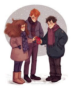 Hermione, Ron and Harry by atalienart. . Harry Potter. J K Rowling
