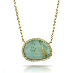 Meira T Amazonite and Yellow Rutilated Quartz Doublet Diamond Necklace – Bee-A-porter #meirat #beeaporter #amazonite #necklace