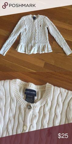 Girls Ralph Lauren cream cable knit sweater m Like new! Size medium 8/10 Ralph Lauren Jackets & Coats
