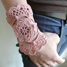 Crochet Cuff Cotton Elegant Victorian Crochet Dusty Rose. $28.00, via Etsy.