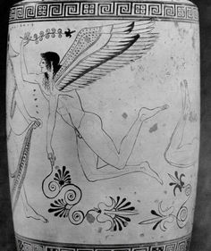 Douris (fl. c. 500 - 460 BCE), Museum of Art, Cleveland 66.114 (1966.114) (495-475 BCE). Red-figure white-ground lekythos. Body: detail of Erote 1.