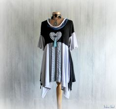 Upcycled Clothing Black Tunic Top Lagenlook by BrokenGhostClothing