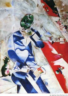 The Poet, or Half Past Three   painting of man who loves the cat, 1912   Marc Chagall