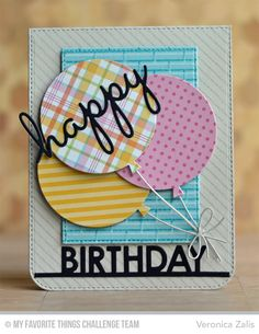 Cheery Birthday Balloons Card by Veronica Zalis featuring the Blueprints 26 Die-namics #mftstamps