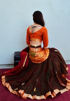 Shimmering Two Tone | Dancing Gopi Skirt Outfits