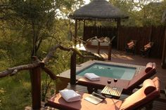 simbambili game lodge in sabi sand game reserve. We enjoyed the monkeys playing on the deck. This place was spectacular! Trip of a lifetime ! Africa Safari Lodge, Beautiful Vacation Spots, Beautiful Places, Sand Game, Game Lodge, Backyard Water Feature, Game Reserve, African Safari, Dream Vacations