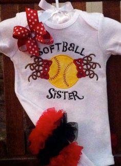 Softball Sister  Applique Shirt or Onesie by Gametimebabyboutique, $23.00