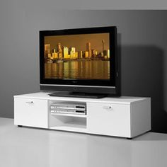 Modern Low Plasma TV Stand In White With 2 High Gloss Doors