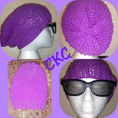Ready to be shipped colours are, green, and purple in ladies sizes. This slouchy hat is beautifully textured. Will have a nice form fitted comfortable fit. Slouchy Hat, Up Hairstyles, Hand Knitting, Your Hair, Winter Hats, Crochet Hats, Colours, Texture, Purple