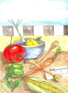 Watercolor Still Life of Fruit and by ValerieNusbaumAandD on Etsy, $15.00