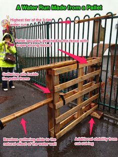 a water run made  from a pallet