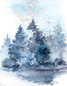 landscape painting, Winter landscape original watercolor painting, snowy nature blue loose painting by CanotStop Pinien Landschaft Winter Landschaft original-Aquarell Landscape Sketch, Watercolor Landscape Paintings, Watercolor Trees, Landscape Designs, Watercolor Sketch, Abstract Landscape, Pine Tree Painting, Winter Drawings, Christmas Artwork