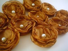 Fabric flowers  10 mini golden caramel by kmj165 on Etsy #teamupcyclers