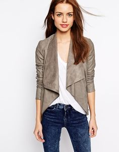 """New Look Suedette Waterfall Blazer from Asos in """"mink."""" Just bought this and I CANNOT wait. I hope it fits and flatters because I'm in love."""
