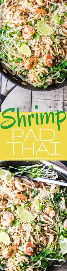 Shrimp Pad Thai is a healthy stir fry noodle bowl that is so much better than take out! | Asian | Thai | gluten free | seafood |