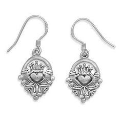Claddagh Earrings - Irish Symbol Of Friendship Loyalty and Love Oxidized Sterling Silver Claddagh Earrings. #BuyBlueSteel #Jewelry