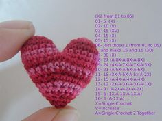 This is the Crocheted Heart Pattern / add to 24 in the beginning it becomes more slim / to 12 it becomes more chubby.