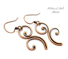 Solid copper earrings / Wire wrapped by PillarOfSaltStudio on Etsy