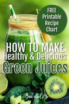 Learn how to make your own healthy & delicious green juices using a simple formula. Includes a free printable recipe chart to hang on your fridge and a yummy green juice recipe to get you started. #juicerecipes #juicing #howtojuice #fatsickandnearlydead #meangreenjuicerecipe Easy Green Juice Recipe, Green Juice Recipes, Superfood Recipes, Healthy Recipes, Cucumber Canning, Different Fruits And Vegetables, Just Juice, Printable Recipe, Free Printable