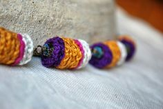 Crochet Necklace Lavender and Gold Fiber Jewelry door LavenderField, $37.00