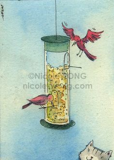 Original ACEO Painting The Bird Feeder by PainterNik on Etsy