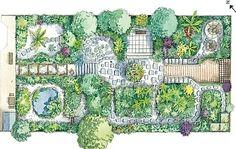 Plan for small garden (illustration by Liz Pepperell)