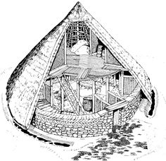 The Neolithic house, named Cul a Bhail, was found on Jura, an island off the west coast  of Scotland. It is very much like a tholos, although they were more dome shaped. But different materials sometimes make for a slightly different shape. The tholoi on Cyprus had stone foundations and mud brick domes, and in Mesopotamia they were made from mud brick. The mud brick was plastered over with adobe, while this house was made of stone, wood and thatch but the basic idea is the same.