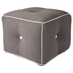 Patch Pouf - Gray/Cream Would adore this in my living room. #goodhousekeeping #happyroom