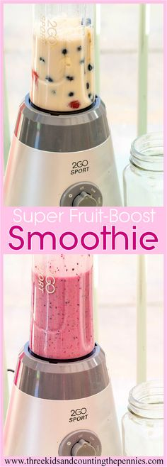 A tasty and healthy smoothie made with blueberries, strawberries, honey, a banana, a green tea bag and soya milk.