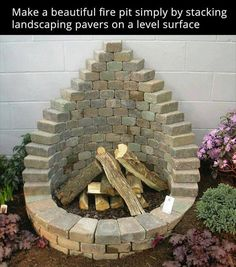 Fire pit made with landscaping pavers