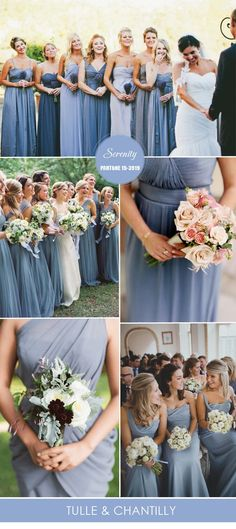 serenity light blue bridesmaid dresses from Pantone spring colors 2016: