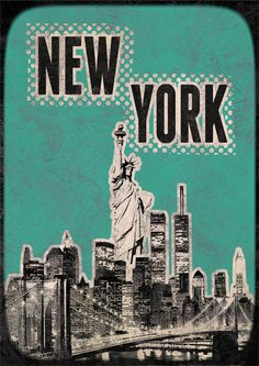Canvas Art New York Poster green  print Cityscape artwork  Mixed Media art on canvas Handmade Wall Decor large print. $29.00, via Etsy.