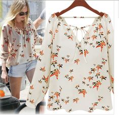 V-Neck Long-Sleeved Colored Pigeon Tether Chiffon Shirt