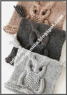 Knitted owl hat pattern idk if i really like the hat. But i love the owl design Knitted Owl, Knit Or Crochet, Knitted Hats, Crochet Hats, Blanket Crochet, Yarn Projects, Knitting Projects, Crochet Projects, Knitting Stitches