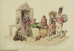London Street Life  Saloop seller drawing off a bowl of the tonic for two soldiers. Behind her a watchman leans against his watch-house and seated next to him a chimney-sweep holds a bowl of saloop.  1805
