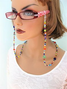 Colorful Eyeglass Chain and Necklace by RalstonOriginals on Etsy Blue Beads, Silver Beads, Pink Eyeglasses, Fake Glasses, Eyeglass Holder, Fish Hook Earrings, Sunglass Frames, Metal Beads, Beaded Lanyards