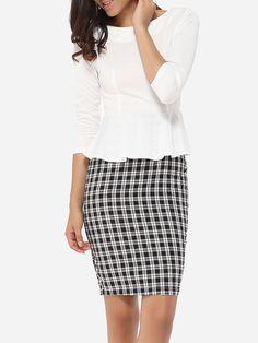 Falbala Round Neck Dacron Patchwork Bodycon-dress #BodyconDresses, #Dresses, #Fashion, #Womens