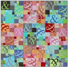 Ampersand Quilt Pattern by Emma Jean Jansen at KayeWood.com. This modern quilt features raw edge appliqué and easy piecing.  Either use on a bed or as a couch throw, this stunning fun quilt will brighten up any room.  Finished Quilt Size: 170cms x 170cms (66'' x 66'') http://www.kayewood.com/Ampersand-Quilt-Pattern-by-Emma-Jean-Jansen-EJJ-AMPE.htm $13.00