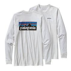 Patagonia Men's P-6 Long Sleeve Logo Cotton T-Shirt- White