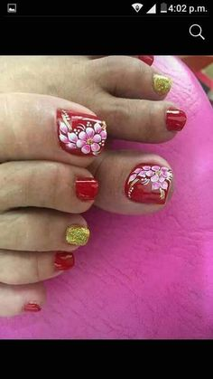Pedicure Nail Art, Toe Nail Art, Nail Manicure, Toe Designs, Red Nail Designs, Flower Pedicure Designs, Feet Nail Design, Cute Toe Nails, Summer Toe Nails