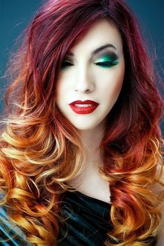 Fall Colored Ombre Hair. Perfect for Halloween. | Halloween Hair | red orange yellow hair