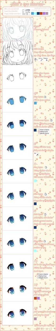 How to draw sparkly anime eyes. Source Unknown