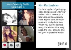 I took Zimbio's celebrity selfie quiz and my selfie soulmate is Kim Kardashian ! Robert Kardashian, Khloe Kardashian, The Simple Life, Kardashian Kollection, Kris Jenner, Celebrity Selfies, At Home Workouts For Women, Duck Face, Abs Women