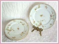 Antique CH Field GDA Limoges Dinner Plates Pink Roses