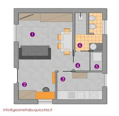 Soluzione proposta al cliente per la manutenzione straordinaria appartamento sito in Milano. In 35mq calpestabili, le richieste erano di ricavare una cucina separata e avere una zona studio.  Ecco le destinazioni che ho progettato: 1 - soggiorno-pranzo/letto 2 - zona studio 3 - cucina 4 - disimpegno 5 - ripostiglio-lavanderia 6 - bagno