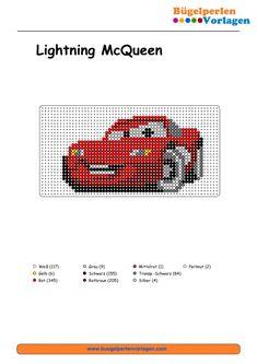 Cars Lightning McQueen Cars Bügelperlen Vorlage - perler bead pattern