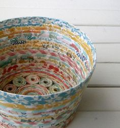 Coiled Paper Basket / Bowl Handmade  Cheerful by BlueTangDesigns