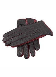 15-1035 Men's handsewn peccary glove with a palm vent on wrist with three handsewn points on the back. Contrasting colour palm/back and side walls/fourchettes. Lined with 100% Lambswool.