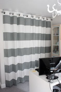 An Idea For My Laundry Area Striped Painted Curtains To Replace Those Horrid Closet CurtainsFabric Shower CurtainsCloset DoorsCloset