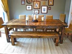 Love the Restoration Hardware dinner table, but not the price? We used the plans on this site to build our own gorgeous dining room table for less than $150! Thanks Ana! (Table pictured is not ours, but was also our inspiration)